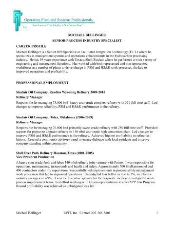 Michael Bellinger - FIT Inc.