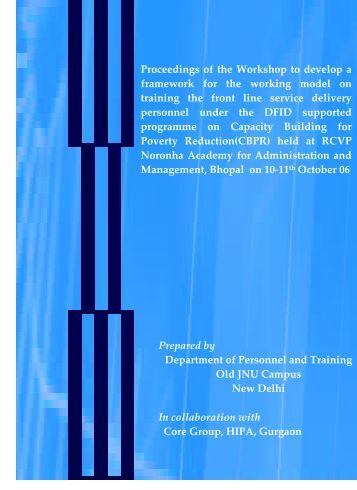 Proceedings of the Workshop to develop a framework for the ... - HIPA