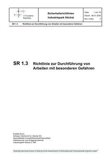 SR 1.3 Richtlinie zur Durchführung von Arbeiten mit besonderen ...
