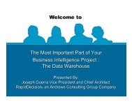 Business Intelligence: The Data Warehouse - Southern New ...