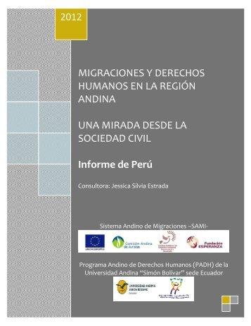 MIGRACIONES Y DERECHOS HUMANOS EN LA REGIÓN ANDINA ...