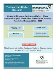 Household Cooking Appliances Market - Global Industry Analysis, Market Size, Market Share, Growth, Trends And Forecast 2012 – 2018