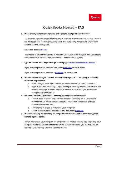 QuickBooks Hosted – FAQ - Reckon