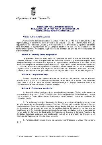 Tasa por la Utilización de las Instalaciones Deportivas Municipales.