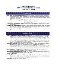 Itinerary - Jewish National Fund