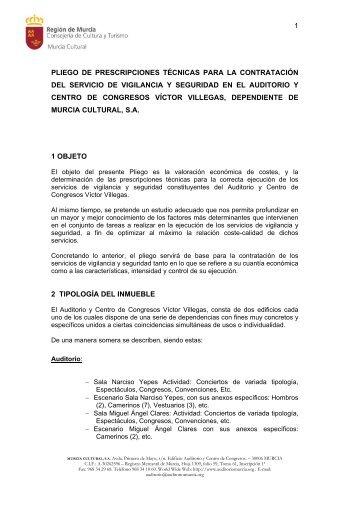 Pliego prescripciones tecnicas - Murcia Cultural