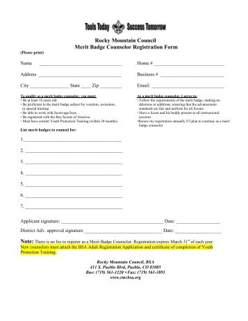 Rocky Mountain Council Merit Badge Counselor Registration Form