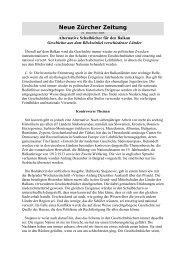 Neue Zürcher Zeitung - Center for Democracy in South East Europe