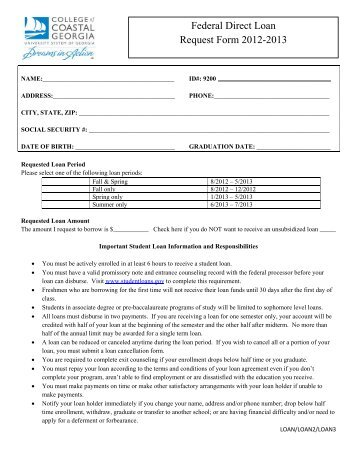 2012 2013 Direct Loan Request Form   The College Of Coastal .