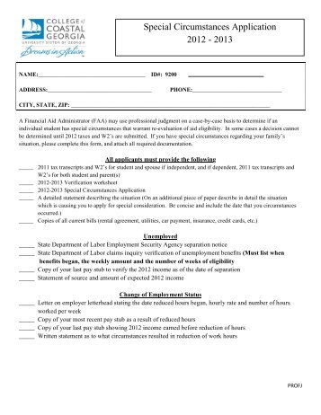 Special Circumstances Application 2012 - 2013
