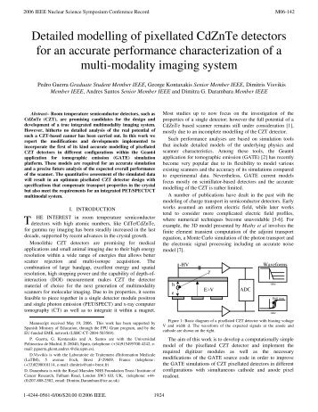 Detailed Modelling of Pixellated CdZnTe Detectors for ... - DIE - UPM