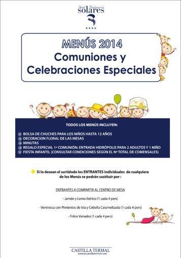 Consulte todos los menús disponibles AQUÍ - Castilla Termal Hoteles