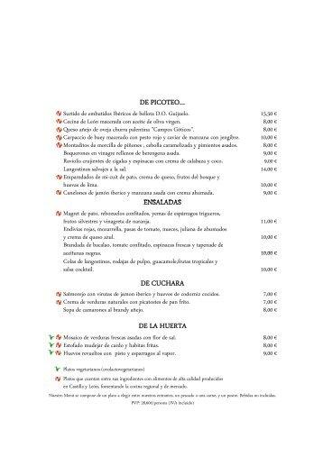 carta de verano 2013 restaurante el hontanar - Castilla Termal Hoteles