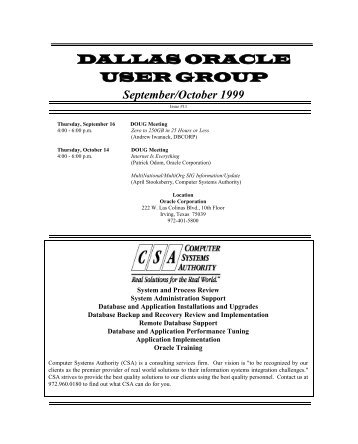 September/October 1999 - Dallas Oracle User Group