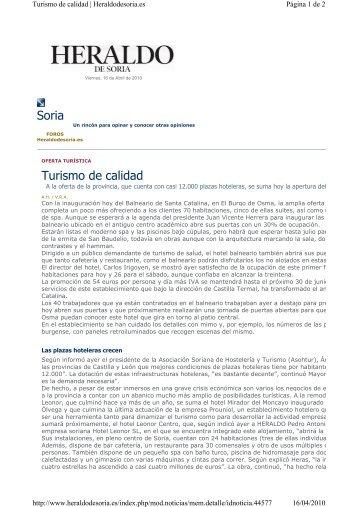 El Heraldo de Soria 16 Abril 2010 - Castilla Termal Hoteles