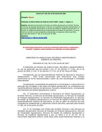 MINISTÉRIO DA AGRICULTURA, PECUÁRIA E ... - Ibravin