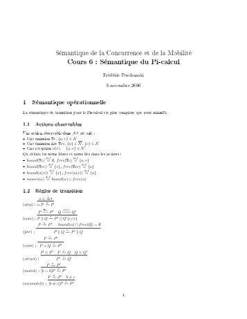 Cours 6 : Sémantique du Pi-calcul