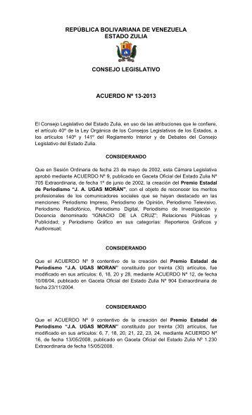Reforma Parcial del Premio Estadal JA-UGASMORAN