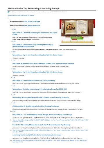 #WebAuditor.Eu Top Advertising Consulting Europe