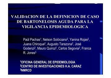 validacion de la definicion de caso de bartonelosis ... - BVS - INS