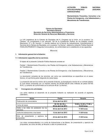 LICITACIÓN PÚBLICA NACIONAL HCD/LXII/LPN/06/2013 ...