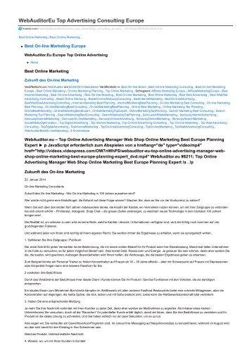 #WebAuditor.Eu #BestInternetMarketing Consulting for Efficient Management Consulting Europe