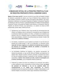 Comunicado oficial frente al Plan de Pediatría propuesto por el ...