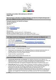 Kontakte und weitere Informationen zu IDA 2011 Region Wil: