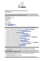 Kontakte und weitere Informationen zu IDA 2013 in der Stadt St.Gallen