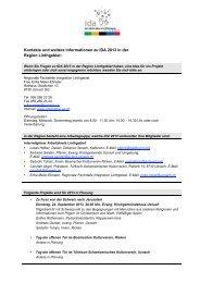 Kontakte und weitere Informationen zu IDA 2013 in der Region ...