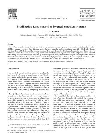 Seliga - Stabilization fuzzy control of inverted pendulum systems