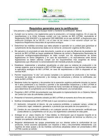 Requisitos generales, solicitud y continuación para la certificación