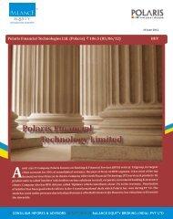 Polaris Financial Technologies Ltd. (Polaris) ` 106.5 (05/06/12) BUY