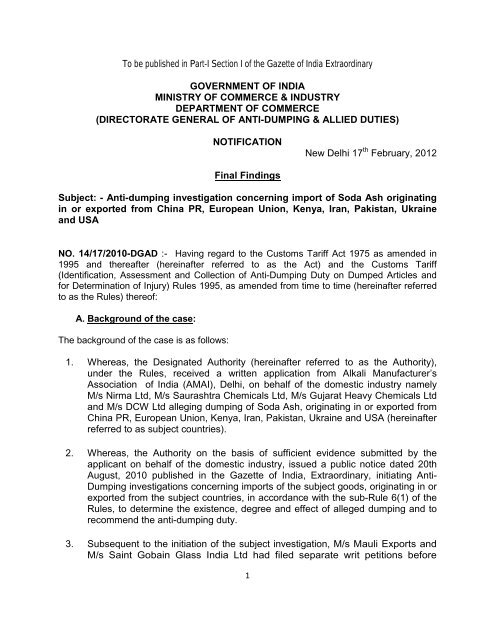 Initiation of Anti-Dumping Duty investigation concerning