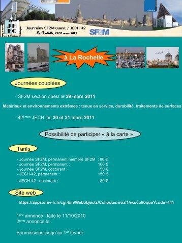 Annonce des JECH 2011 (La Rochelle)