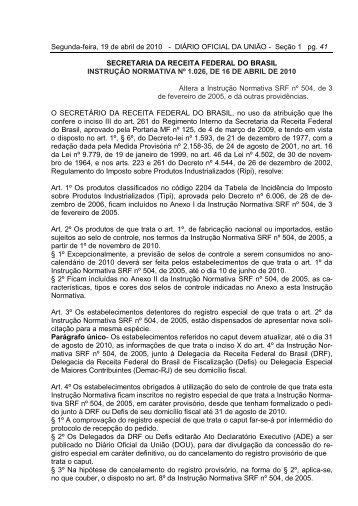 Instrução Normativa Nº 1.026 - Ibravin