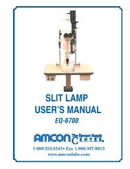slit lamp user's manual - Amcon Labs - The Eyecare Supply Center