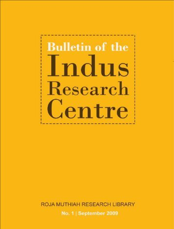 Volume No 1 – September 2009 - Roja Muthiah Research Library