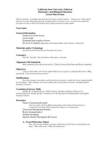 Lesson Plan Format I Assessment