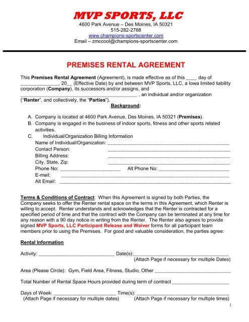 Mvp Facility Rental Agreement Mvp Sports