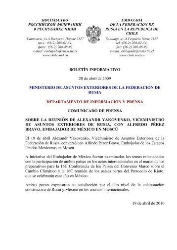 BOLETÍN INFORMATIVO 20 de abril de 2009 MINISTERIO DE ...