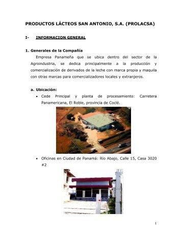 productos lácteos san antonio, sa (prolacsa) - Ministerio de ...