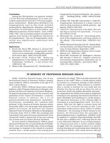 In memory of Professor Bernard Issac - The Hong Kong Geriatrics ...