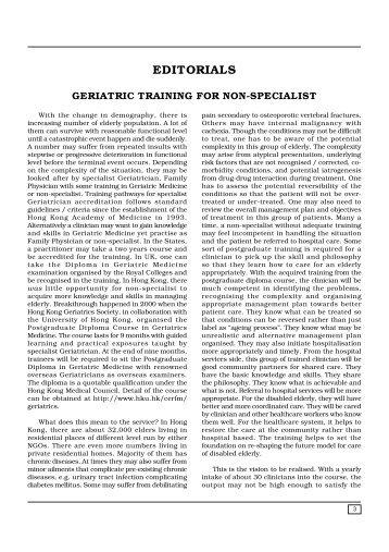 Geriatric Training for Non-specialist - The Hong Kong Geriatrics ...