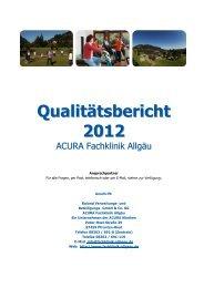 Qualitätsbericht 2012 - ACURA SIGEL Klinik - Acura Kliniken