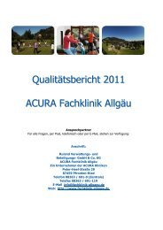 Qualitätsbericht 2011 ACURA Fachklinik Allgäu - ACURA SIGEL Klinik