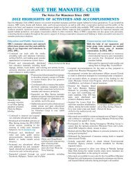 2012 Activities and Accomplishments - Save the Manatee Club