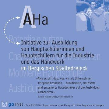 Initiative zur Ausbildung von Hauptschülerinnen und ... - Initiative AHa