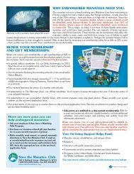 renew your membership and gift memberships - Save the Manatee ...