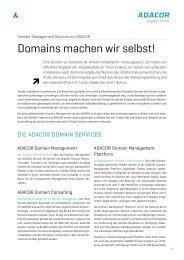 Domains machen wir selbst! - ADACOR Hosting GmbH